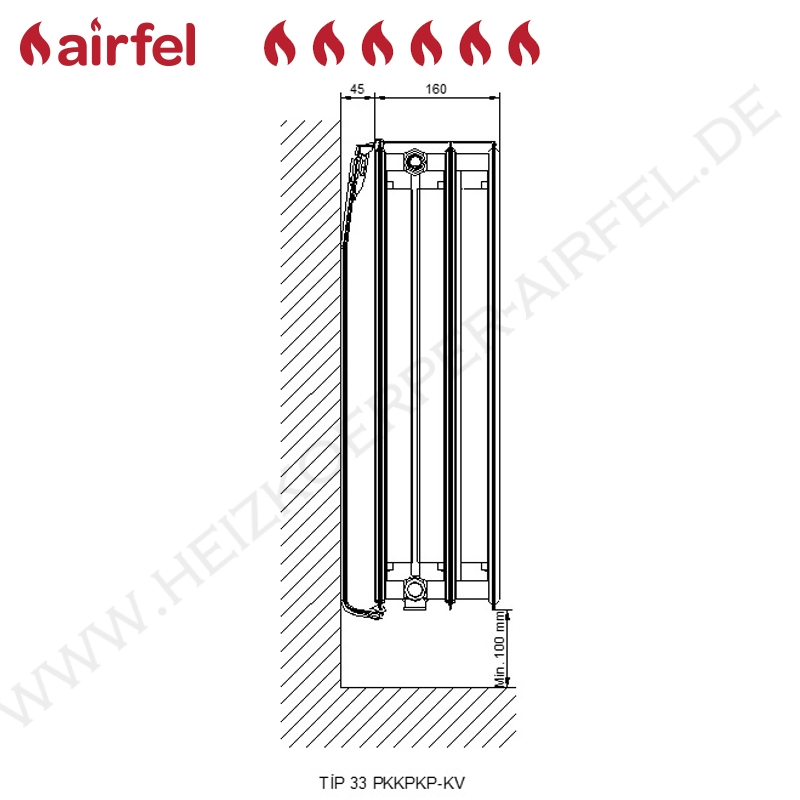 flachheizk rper kompakt ventil type 33 400 x 0900 mm hxl anschluss links vl 33 40 090. Black Bedroom Furniture Sets. Home Design Ideas